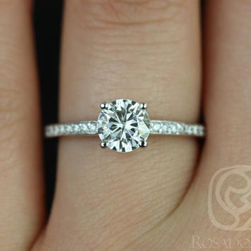 Romie 6mm 14kt White Gold FB Moissanite Solitaire with Accent Diamonds Engagement Ring (Other Metals and Stone Options Available)