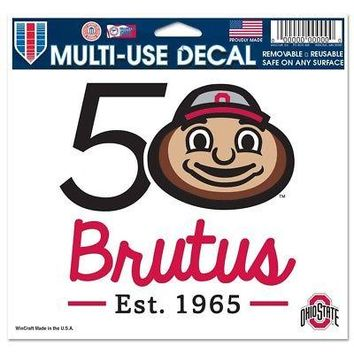 "Licensed Ohio State Buckeyes NCAA 4.5""x6"" Brutus 50th Car Window Cling Decal 131218 KO_19_1"