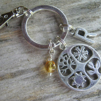 Personalized 4 Seasons Keychain, Four Seasons Zipper Pull , Initial Accessory, Nature Keychain, Spring Summer Fall Winter, Seasonal Equinox