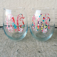 Lilly Pulitzer Monogrammed Wine Glass - Stemless