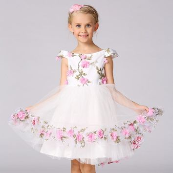 Girls Tulle Tutu Princess Dress Flowers Wedding Party Birthday Vestidos Cosplay Costume Girl Prom Dress For 4 6 8 10 12 Years