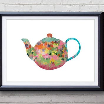 Teapot Kitchen Print - Home Living - Teapot Painting - Kitchen Wall Art - Wall Decor - Home Decor, House Warming Gifts