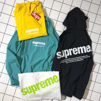 """Supreme"" Unisex Letter Print Hooded Long Sleeve Thin Windbreaker Couple Sun Protection Clothing  Waterproof Pullover Tops"
