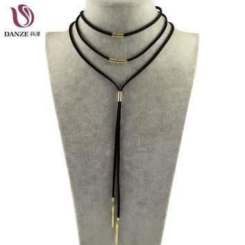 Danze New Fashion Jewelry Multilayer Long Black Leather Choker Necklaces For Women Boho Alloy Tassel Pendant Necklaces Colliers