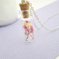 Pink and white babies breath bottle necklace