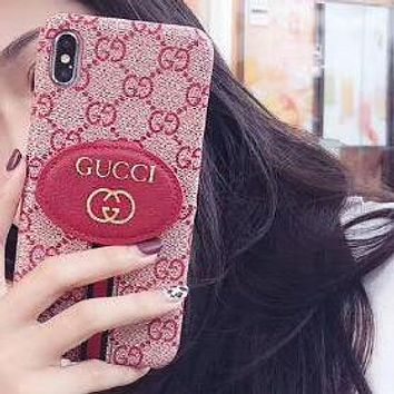 GUCCI Hot Sale Leather Classic GG Letter Print Card Mobile Phone Cover Case For iphone 6 6s 6plus 6s-plus 7 7plus 8 8plus X XsMax XR Pink