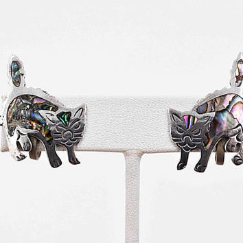 Vintage Taxco Sterling Silver Abalone Cat Earrings, Scaredy Cats, Angry Cats, Inlaid, Screw Back, Signed, Eagle, Mexico, Nice! #c222