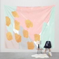 Soft Angles 2 - coral and mint abstract Wall Tapestry by Allyson Johnson | Society6
