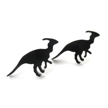 Parasaurolphus Silhouette Dinosaur Shaped Laser Cut Stud Earrings in Black