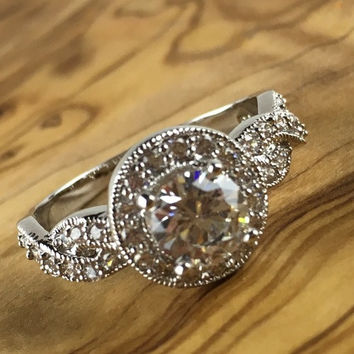 Vintage Inspired 1.25 ct Sapphire Halo Ribbon Shank Engagement Ring