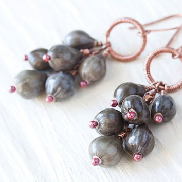 Natural Plant Seed Cluster Earrings, Organic Job's Tears seed earrings, copper. Earthy steel gray brown, Nature inspired sustainable jewelry