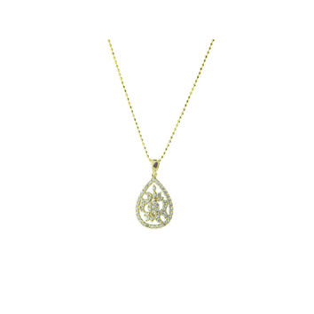 18k Gold Plated Sterling Silver Marquise Diamond Cut CZ Pendant Necklace, 16""