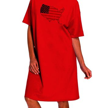 United States Cutout - American Flag Distressed Adult Wear Around Night Shirt and Dress by TooLoud