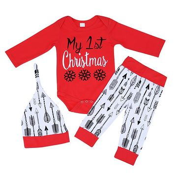 3pcs Baby Christmas Clothes Suits Infant Boys Girls Long Sleeve Bodysuit + Arrow Printed Pants + Hat Outfits Kids Clothing Set
