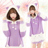 Japanese cartoon cat kawaii hooded thick fleece pullover