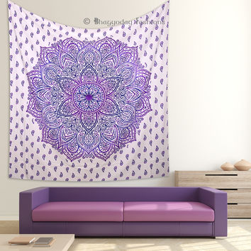 Purple Ombre Indian Mandala Hippie Tapestry Wall Hanging Bedding Bedspread Ethnic Bohemian Cotton Decor