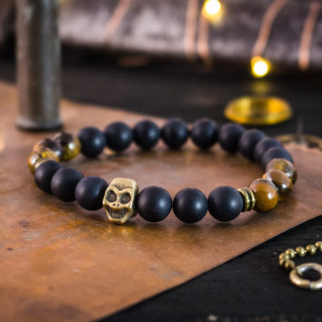 Matte black onyx & tiger eye stone beaded stretchy bracelet with bronze skull, made to order yoga bracelet, mens bracelet, womens bracelet