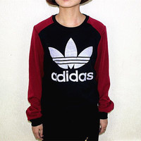 """Adidas"" Casual Simple Thickened Stitching Print Scoop Neck Tops"