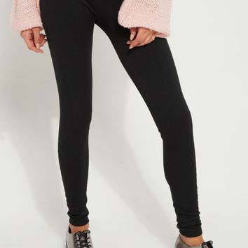 Black Cable Knit Fleece Legging
