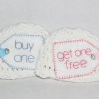 Funny newborn twins hat set- two hats for newborn twins, photography prop