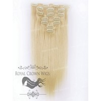 14 Inch 7 Piece Straight Human Hair Weft Clip-In Extensions in #22