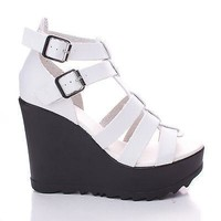 Charge01 White By Bamboo, Open Toe Caged Buckle Platform Wedge Sandal