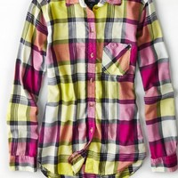 AEO 's Plaid Boyfriend Shirt (Yellow)
