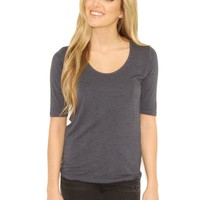 Majestic 3/4 Sleeve Scoop Neck Tee - Denim