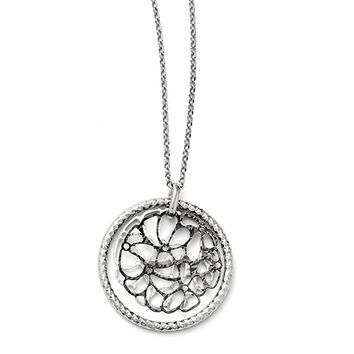 Two Tone Cutout Abstract Circle Necklace in Sterling Silver, 18-20 in