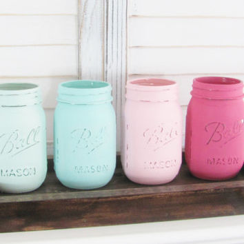 Shabby Decor, Rustic Decor, Painted Jars, Mason Jars, Table Topper, Party Decor, Shabby Chic, Set of 4 Jars, Party Centerpiece Country Decor
