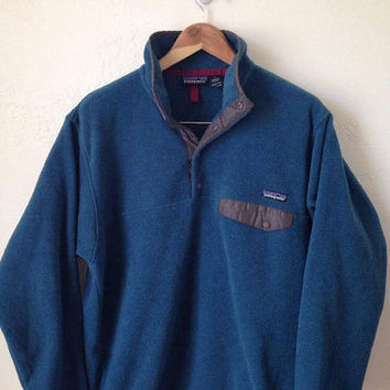 Vintage Patagonia Synchilla Men's Snap Pocket Pullover Fleece - Size Medium - Blue / Gray