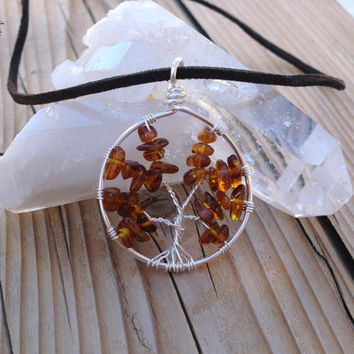 Tree of Life Necklace - Baltic Amber Pendant - Made to Order - Silver Plated Copper