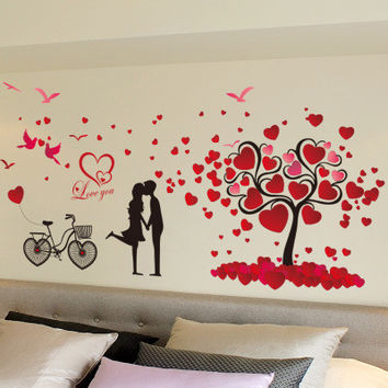 Romantic love tree couple birds bicycle removable wall sticker for wedding bedroom bedside mural decal home decor SM6