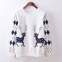 White Reindeer Sleeve Diamond Sweatshirt
