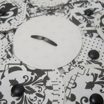 Black and White Paper Flowers for Card Making Craft Supplies Mixed Media Art  Posies - Set of 10