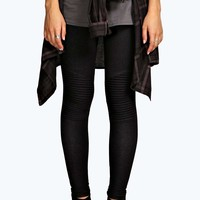 Livvy Biker Ribbed Knee Denim Look Jeggings