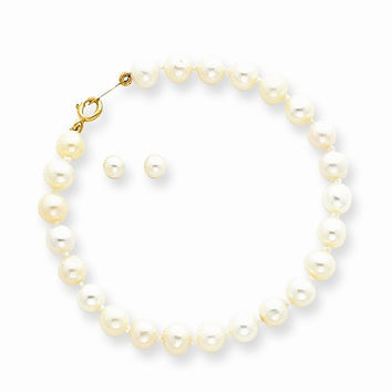 14k Baby Pearl Set Bracelet Screwback Earrings