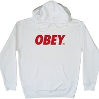 justanother.co.uk. Obey Clothing: Obey Font hoodie hooded sweat in white