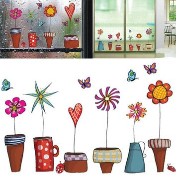 LMFHY3 Cute Cartoon Flower Butterfly wall Stickers DIY Decal Window glass Wall decor Home Decoration kids children room decor