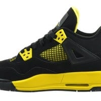 "Air Jordan 4 Retro (GS) ""Thunder"" Big Kids Shoes Black/White-Tour Yellow Black/White-Tour Yellow 408452-008-4"