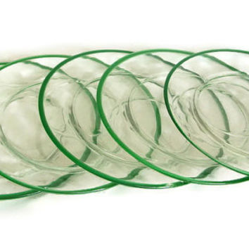 Vintage Glass Luncheon or Snack Plate Clear with Green Band Set of 6