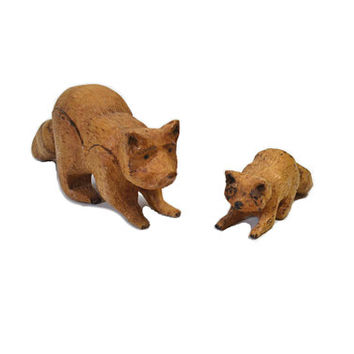 Vintage Wood Raccoon Figurines Mother and Baby Raccoon Pair of Raccoons Nursery Decor Baby Shower Gift