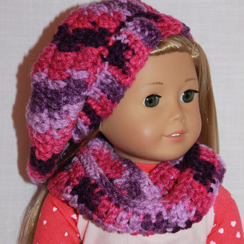 18 inch doll clothes, pink and purple beret style crochet slouch hat with infinity scarf, Upbeat Petites