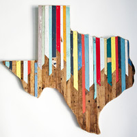 "No. 61 - 24"" Reclaimed Texas Wall Hanging"