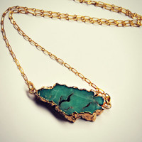 Chrysoprase necklace, gold dipped stone, raw stone necklace, druzy necklace, natural stone necklace