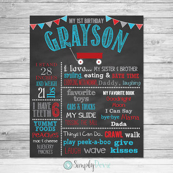 First Birthday Chalkboard Poster Printable - Little Red Wagon - Wagon Birthday Chalkboard, Wagon Birthday