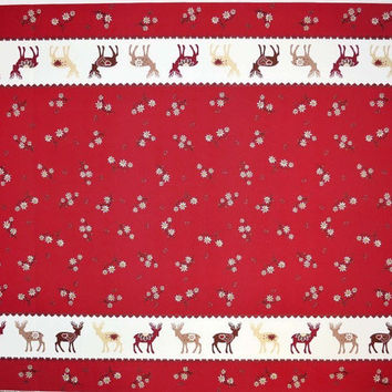 Christmas Tablecloth red beige brown Deers hearts flowers Scandinavian Design , runner , napkins , curtains , pillows available, great GIFT
