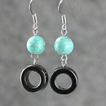 turquoise bead hoop earrings Bridesmaids gifts Free US Shipping handmade Anni Designs