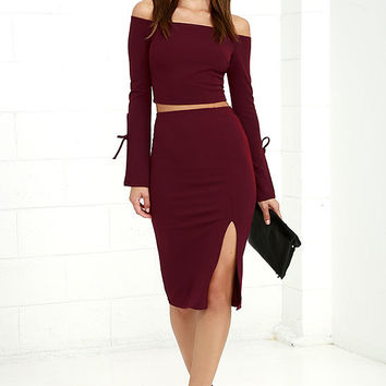 Bold Move Burgundy Off-the-Shoulder Two-Piece Dress