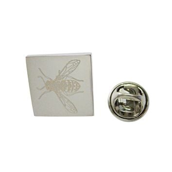 Silver Toned Etched Wasp Insect Lapel Pin